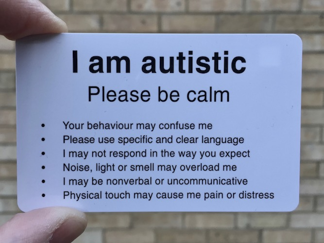 Autistic Hackney autism communications card - front